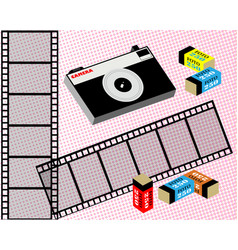 old film camera film and film in the package vector image
