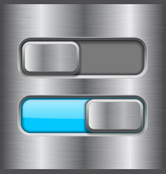 On and off blue slider buttons metal switch vector