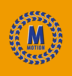 Optical illusion motion logo in round moving frame vector