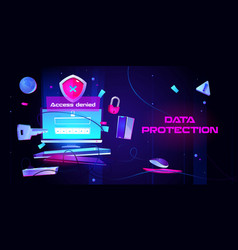 Personal data protection cartoon landing page vector