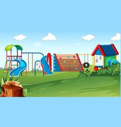 Playground park scene with equipment vector