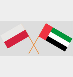 Poland and united arab emirates flags vector