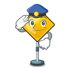 Police harm warning sign shaped on cartoon vector
