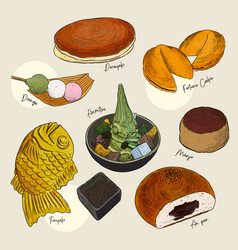 popular kind of sweets japanese set hand draw vector image