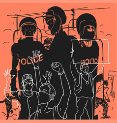 Protest against authorities vector