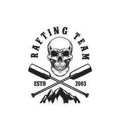 rafting team emblem template with skull crossed vector image