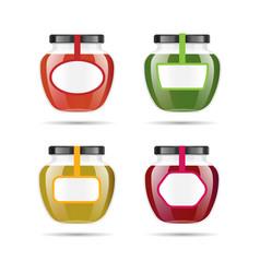 Realistic transparent glass jar with jam vector