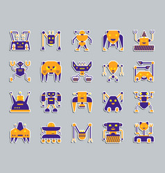 Robot patch sticker icons set vector