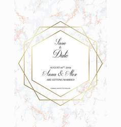 save the date card golden geometric design vector image