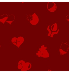 Seamless background with blood donation icons vector image