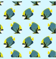 Seamless pattern from swim fish emperor vector