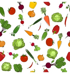 Seamless pattern of fresh raw vegetables vector