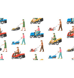 Seamless pattern with man with lawnmower vector