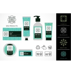 Set natural cosmetics design packaging icons vector