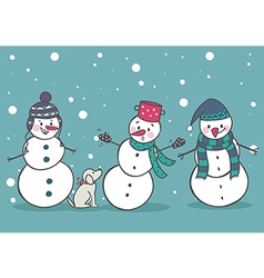 Set of 3 cute snowman vector image
