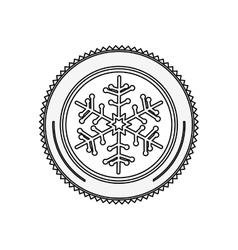 silhouette circular border with snowflake vector image