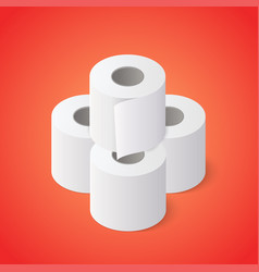Stack toilet paper rolls on red background vector