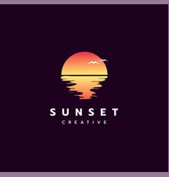 sunset logo design vector image