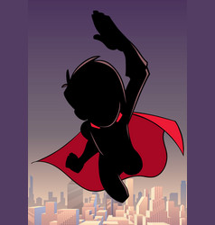 super boy flying sky silhouette vector image