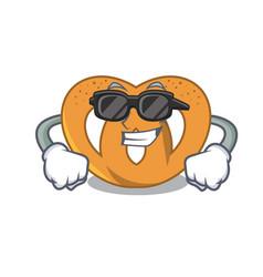 Super cool pretzel character cartoon style vector