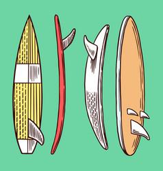 surf badge vintage surfer logo retro surfboard vector image