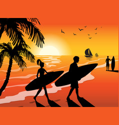 surfers beach and sunset background vector image