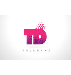 td t d letter logo with pink purple color and vector image