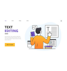 text editing with editor or proof reader analysing vector image
