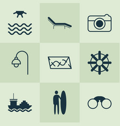 tourism icons set with tanker rudder road and vector image