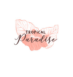 tropical paradise hand drawn logotype template vector image