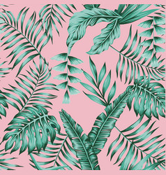 tropical plants green colors seamless pink vector image