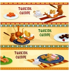 Turkish cuisine sweets with coffee banner set vector image
