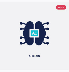 Two color ai brain icon from artificial vector
