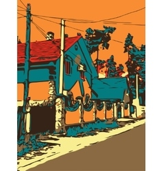 Ukrainian village graphic artwork with a road and vector