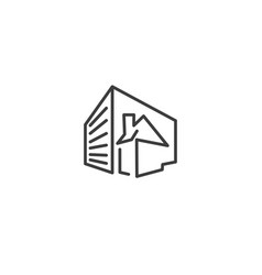 urban and city element icon - building house vector image