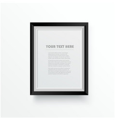 white wooden photo frame with black border vector image