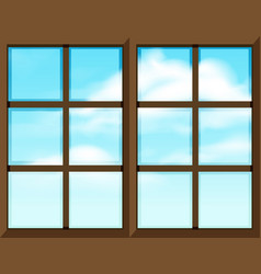 Window frame template with outside view vector