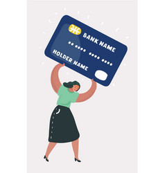 Woman in debt on credit card vector