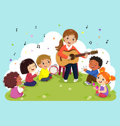 Woman playing guitar with a group kids singing vector