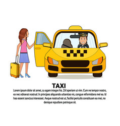 Woman with suitcase sitting in yellow cab car taxi vector