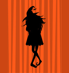 Young witch black silhouette on striped vector