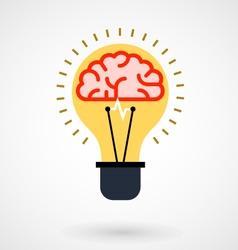 Brain in light bulb - idea icon vector image vector image