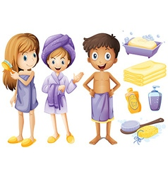 Children and bathroom objects vector image vector image