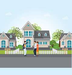 real estate agent showing new house to couple vector image vector image