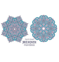 set of two abstract round lace design vector image vector image