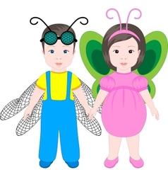 Two children wearing Halloween costumes vector image