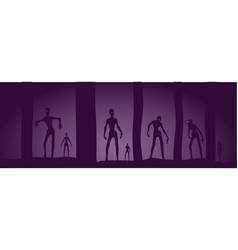 zombie silhouettes in dark forest vector image