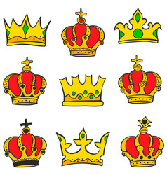 collection crown glamour style doodle set vector image vector image