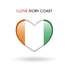 love ivory coast symbol flag heart glossy icon on vector image vector image