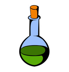 small bottle with a green potion icon vector image vector image